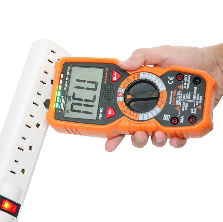 Professional Grade 6000 Counts True RMS 1000V AC DC 20A AC DC Multifunctional Digital Multimeter (RMS Multimeter)
