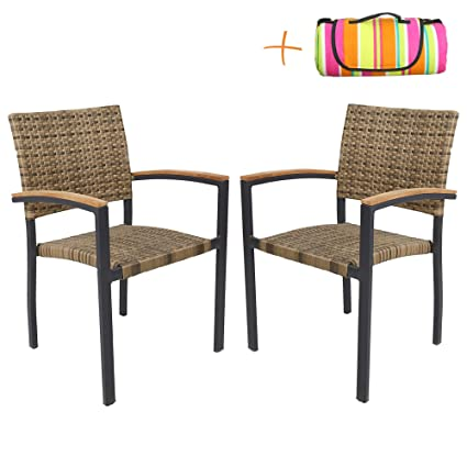 Super Amazon Com Luckyermore Outdoor Dining Chairs Set Of 2 Unemploymentrelief Wooden Chair Designs For Living Room Unemploymentrelieforg