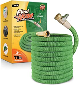 Flexi Hose Lightweight Expandable Garden Hose | Ultimate No-Kink Flexibility - Extra Strength with 3/4 Inch Solid Brass Fittings & Double Latex Core | Rot, Crack, Leak Resistant (75 FT, Green)