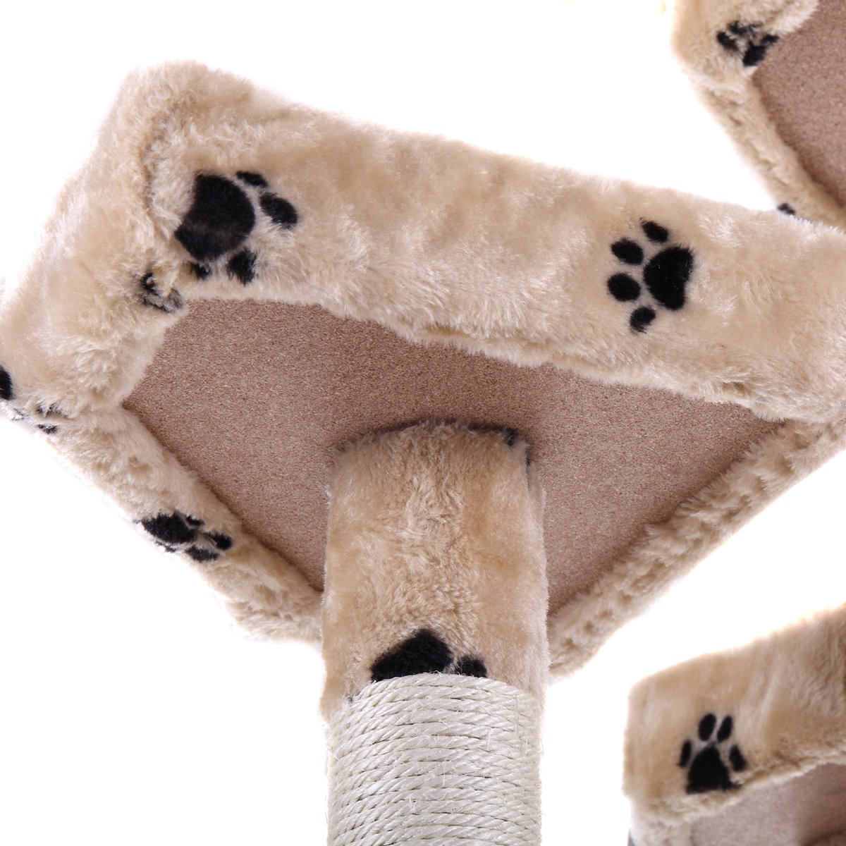 LAZYMOON 67'' Cat Tree 4-Tier Tower Condo Play House Furniture w/ Scratching posts and Toy Mouse Beige with Footprint by LAZYMOON (Image #6)