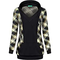 Kimmery Woman Long Sleeve V Neck Pullover Plaid Patchwork Hoodie with Kangaroo Pocket