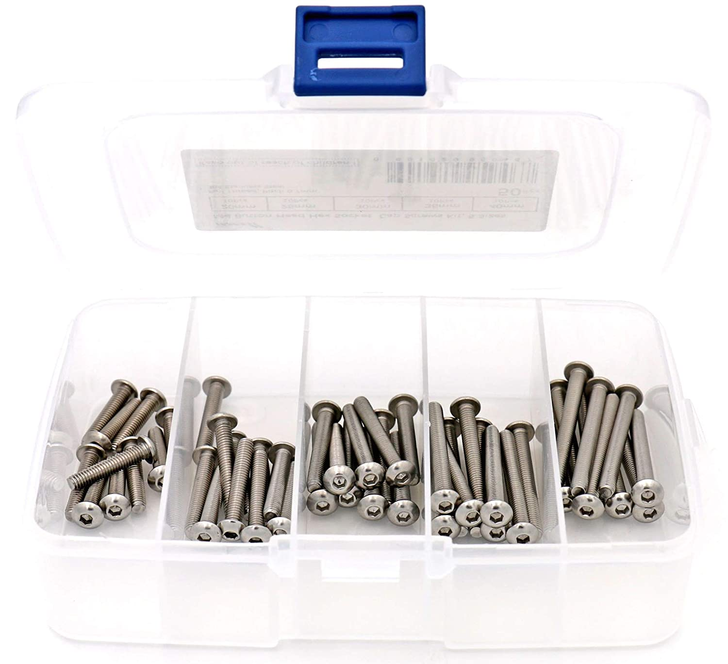 Fully Threaded iExcell 50 Pcs M4 x 20mm//25mm//30mm//35mm//40mm Stainless Steel 304 Internal Hex Drives Button Head Cap Screws Kit