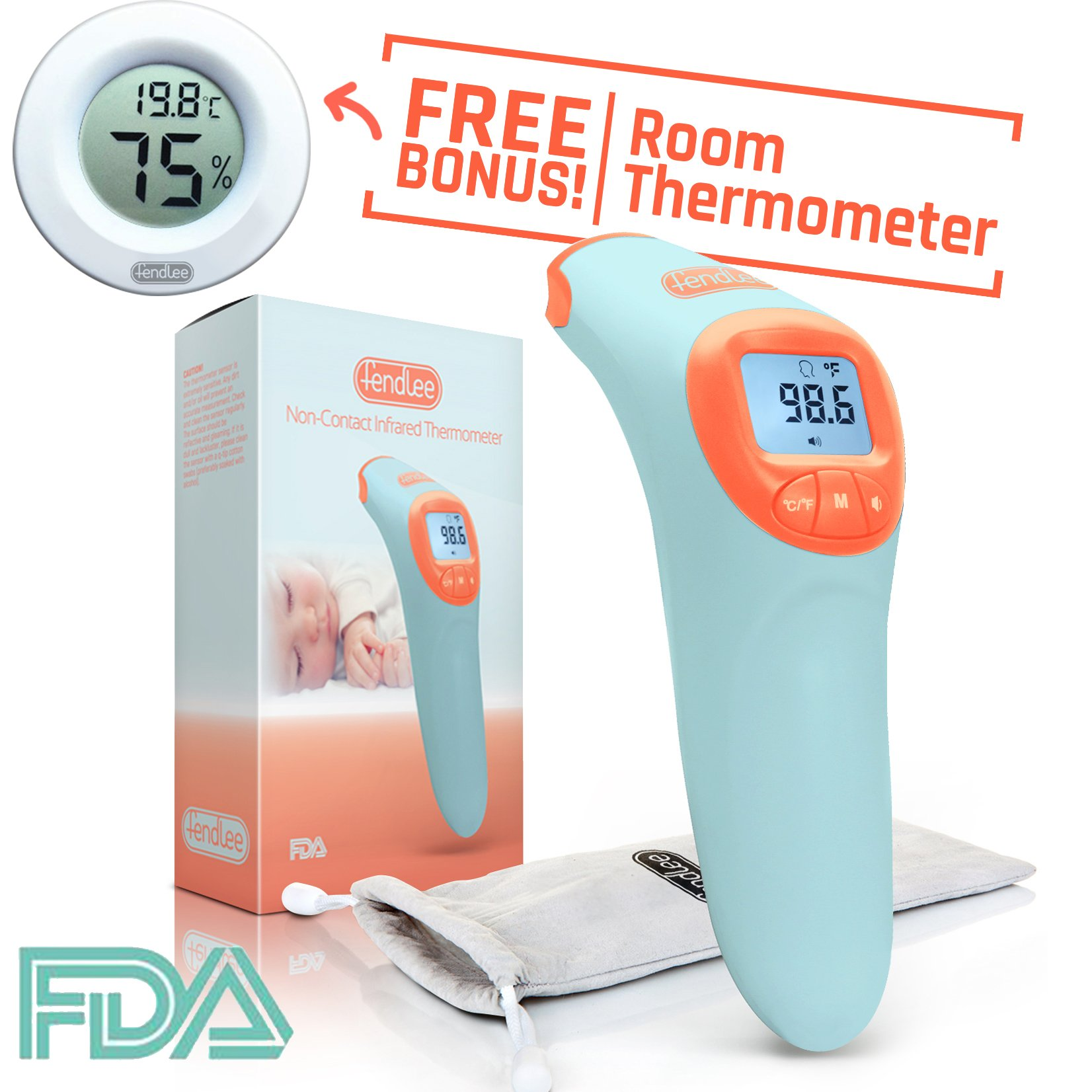 Fendlee Digital Infrared Non-Contact Forehead Thermometer Suitable for Infants Toddlers and Adults Instant & Accurate For Home or Pediatric Use Celsius or Fahrenheit FDA & CE Approved Blue
