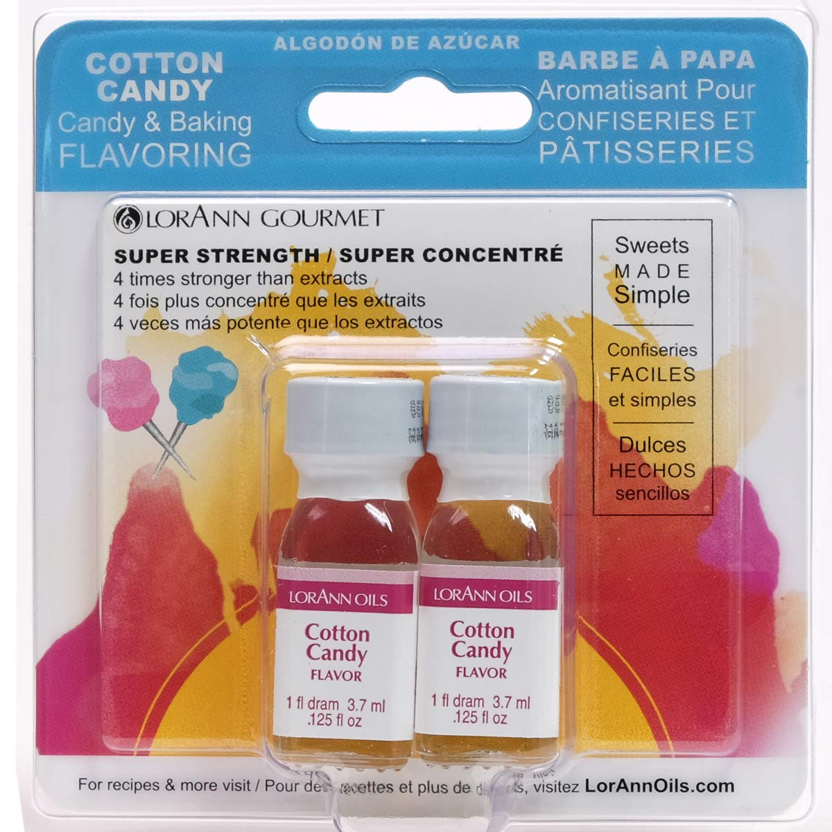 LorAnn Cotton Candy Super Strength Flavor, 1 dram bottle (.0125 fl oz - 3.7ml)