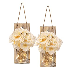 HOMKO Decorative Mason Jar Decorations with 6-Hour Timer LED Fairy Lights and Flowers - Rustic Home Decor (Set of 2)