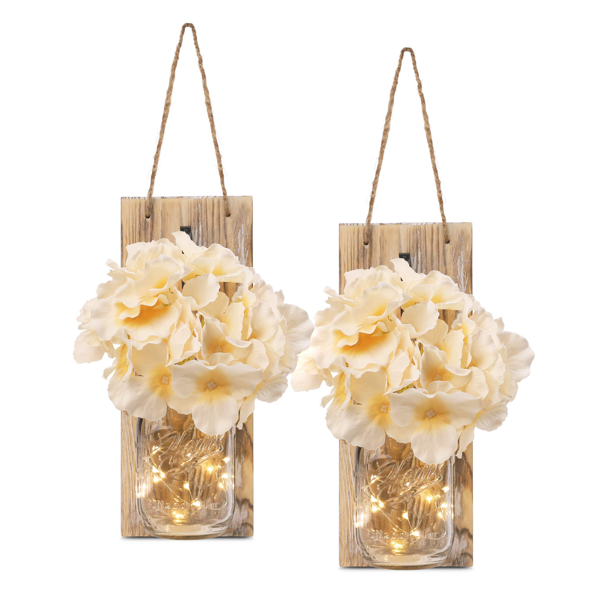 HOMKO Decorative Mason Jar Decorations with 6-Hour Timer LED Fairy Lights and Flowers – Rustic Home Decor (Set of 2)