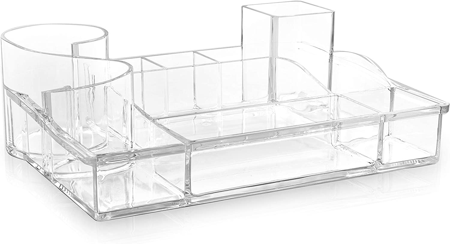 BINO 'The Squire' 11 Compartment Jewelry and Makeup Organizer, Clear and Transparent Cosmetic Beauty Vanity Holder Storage