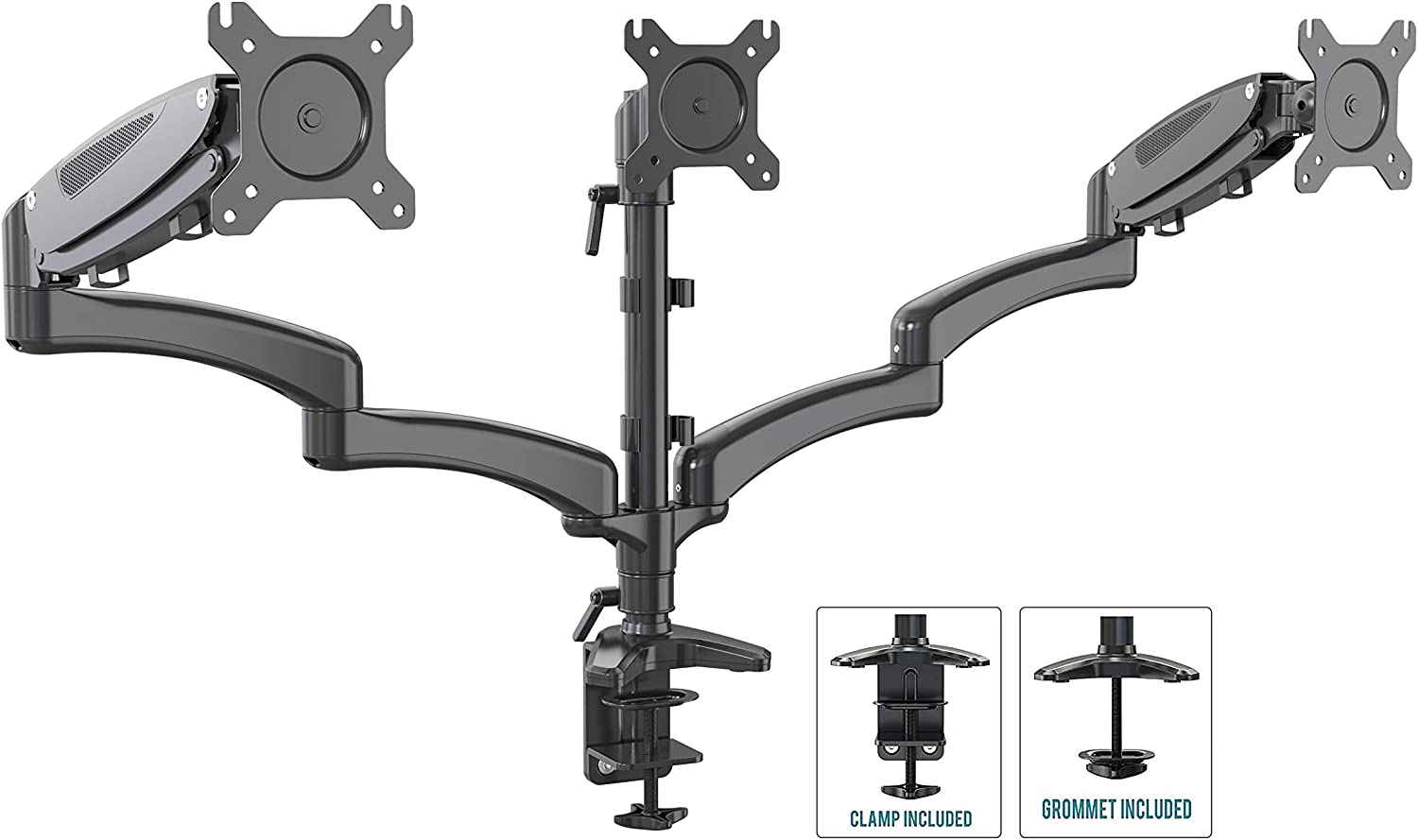 """SHOPPINGALL Fully Adjustable Dual Gas Spring LCD Monitor Desk Mount Stand with 3 Swing Arms for Three 15""""-32"""" Monitors, Desk Clamp and Grommet Mounting Options in The Box - SA-GM135D (Black)"""