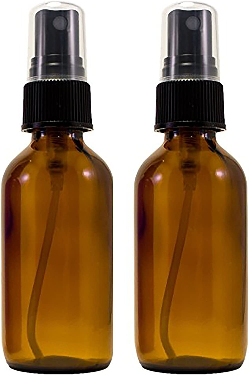 Amber Glass Spray Bottle (2 oz, 2 pk) with BONUS Waterproof Labels, Fine Mist Sprayer, for Essential Oils, Colognes & Perfumes, Highest Quality