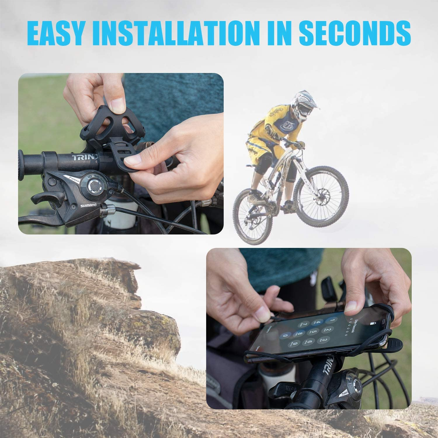 Silicone Soft Rubber Fits All Smartphones 2 Pack Bike Phone Mount Universal Rubber Bike Phone Holder and Motorcycle Phone Mount Bike Accessories WixGear Phone Holder for Bicycle Handlebars