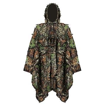 Uniforme de Camuflaje 3D, niños Jungle Caza Ghillie Suit Lluvia Poncho Ropa Adecuado para Ocultar de Jugar, Exterior, Caza: Amazon.es: Deportes y aire libre