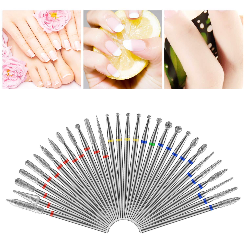 MWOOT 30 Pcs Nail Drill Bits Set,Tungsten Rotary Diamond Drill Bit Polishing File Grinding Heads Tools for Nail Salon Manicure Pedicure