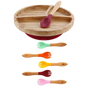 Avanchy Bamboo Toddler Plate + Baby Training Forks. Strong Suction Bottom fits Most high Chairs. Magenta