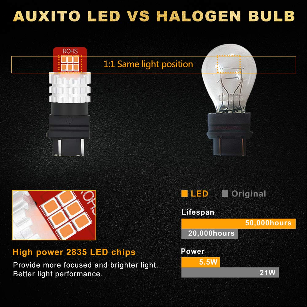 Pack of 2 AUXITO 3156 3157 Super High Bright 3157K 3057 4057 4157 Xenon White LED Bulbs Replace for DRL Turn Signal Backup Reverse Light