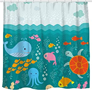 Sunlit Lovely Cartoon Sea Creatures Fabric Shower Curtain for Kids, Whale Turtle and Fish Bathroom Decor Curtain for Girls and Boys