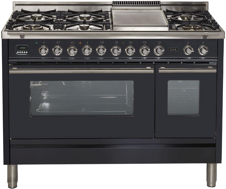 "Ilve UPW120FDMPM Pro Series 48"" Dual Fuel Double Oven Range 7 Burners Griddle Convection Storage Drawer Matte Graphite"
