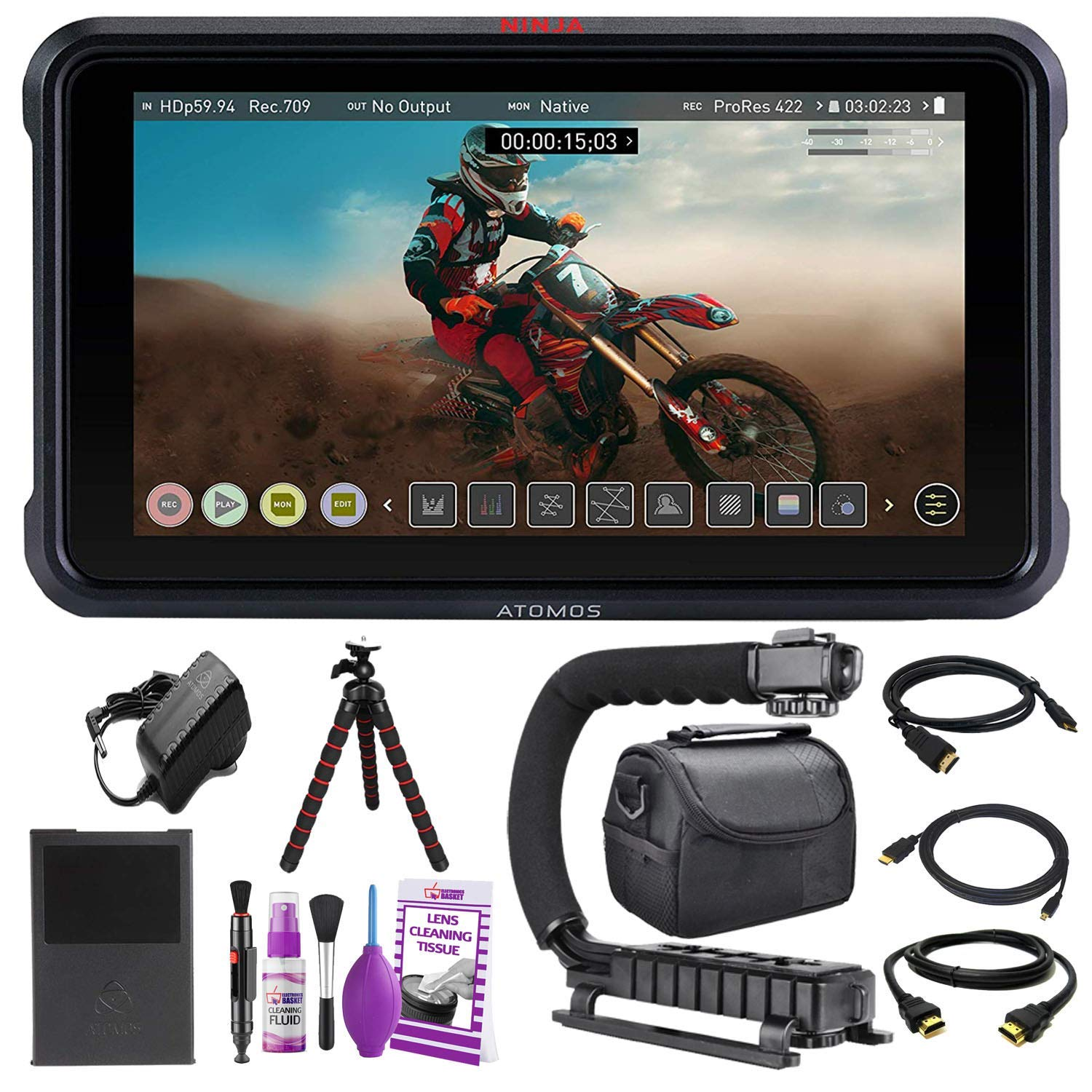 """Atomos Ninja V 5"""" Inch 4K HDMI Recording Monitor Basic Accessory Bundle with Protective Case + Tripod + Cleaning Kit + HDMI Cables + More"""