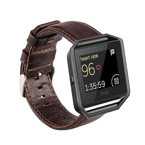 MroTech Correa compatible para Fitbit Blaze [Sin Marco] Correa de Reloj de Cuero Genuino Vintage Pulseras de Repuesto Compatible Fitbit Blaze ...