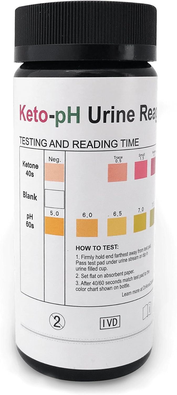 Tiras de prueba de orina Keto-PH, prueba cetonas y pH, todo en una tira de prueba. 100 tiras para ceto, alcalinidad, niveles de acidez.