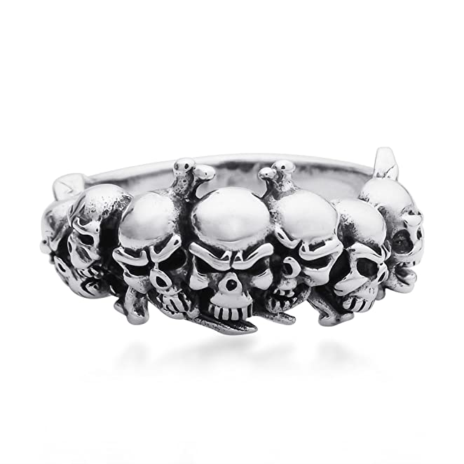 Deluxe Adult Costumes - Men's ominous sterling silver skull & crossbones pirate ring with jewelry gift box