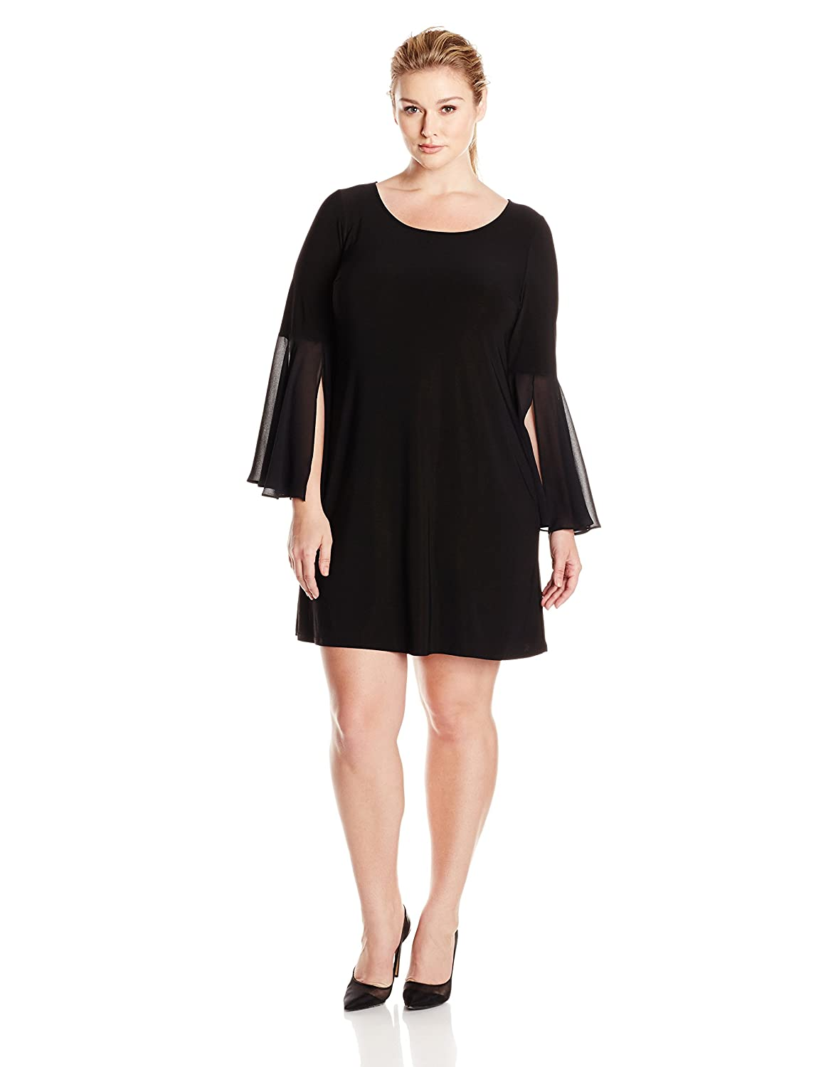 MSK Women's Plus-Size Round Neck, Knit-to-Woven Solid Bell Sleeve- Plus MSK Women's Dresses 21365
