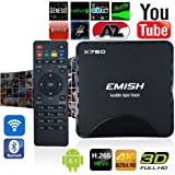 Emish 2016 Newst TV Box, Android Smart TV Box, Game Player with Kodi, Wifi Bluetooth Functions, Internet Streaming Media Player with Android 5.1 Amlogic S905 64 Bits with All Channels , Black X750