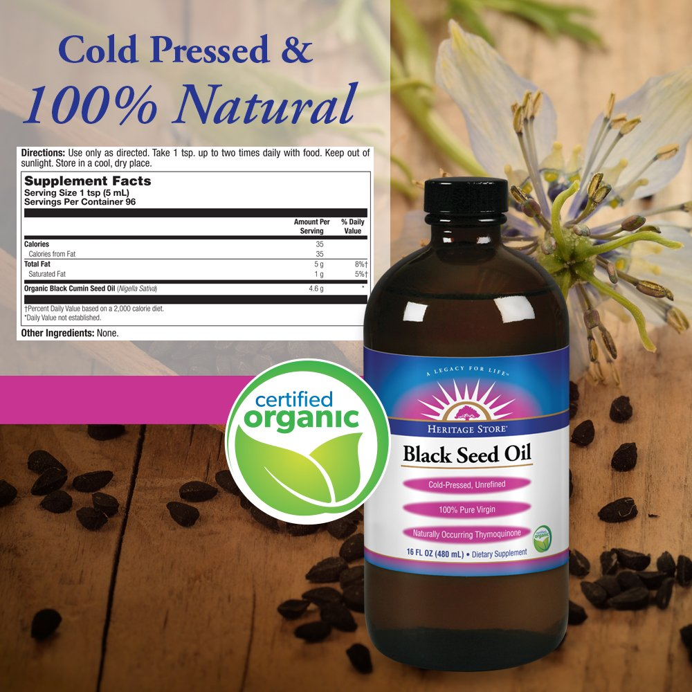 Heritage Store Black Seed Oil, Organic Natural, 16 oz by Heritage Store (Image #2)