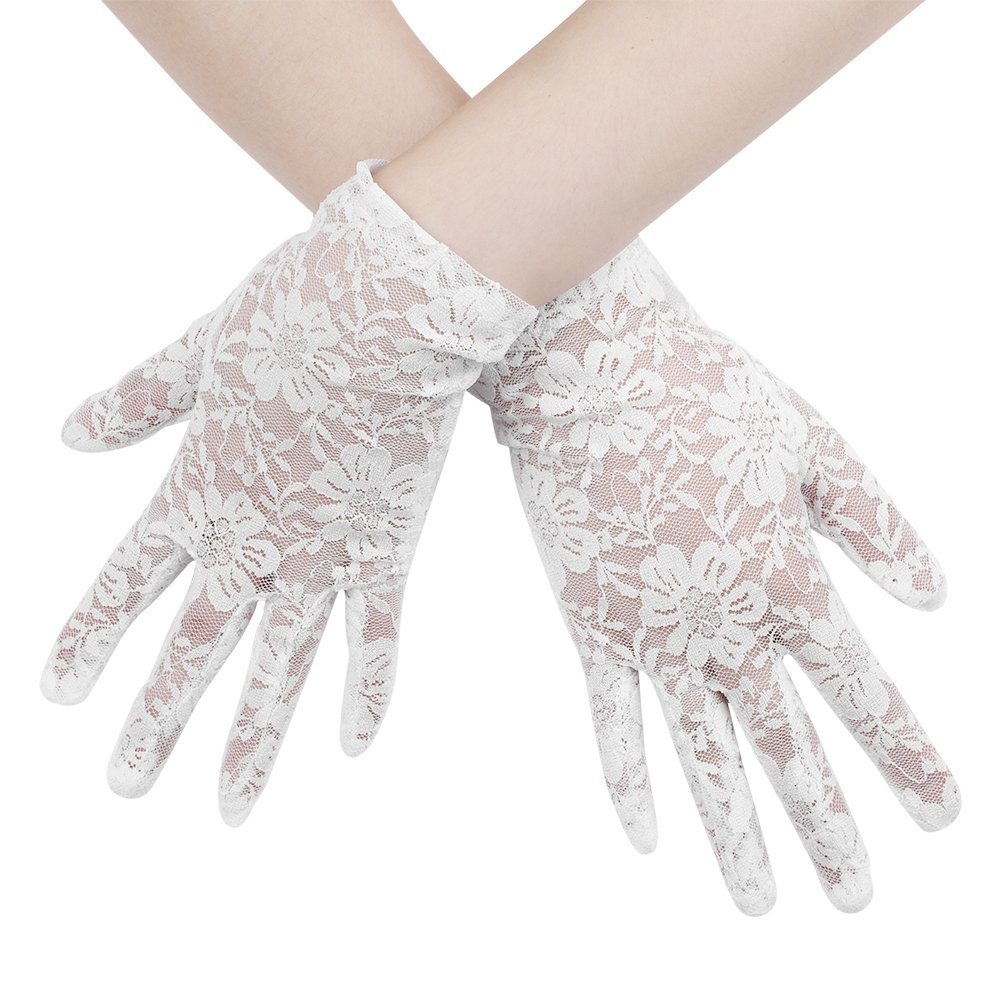 Elegant Lace Bridal Short Gloves Wedding Dress Accessories Sun UV Protection Driving Gloves for Women Ladies Vintage Sheer Floral Lace Wrist Length Gloves