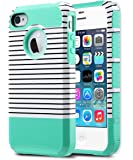 iPhone 4S Case ,iPhone 4 Case,ULAK Dual Layer Hybrid Slim Hard Case for iPhone 4S & iPhone 4 with Hard PC Cover and Soft Inner TPU (Minimal Mint Stripes)