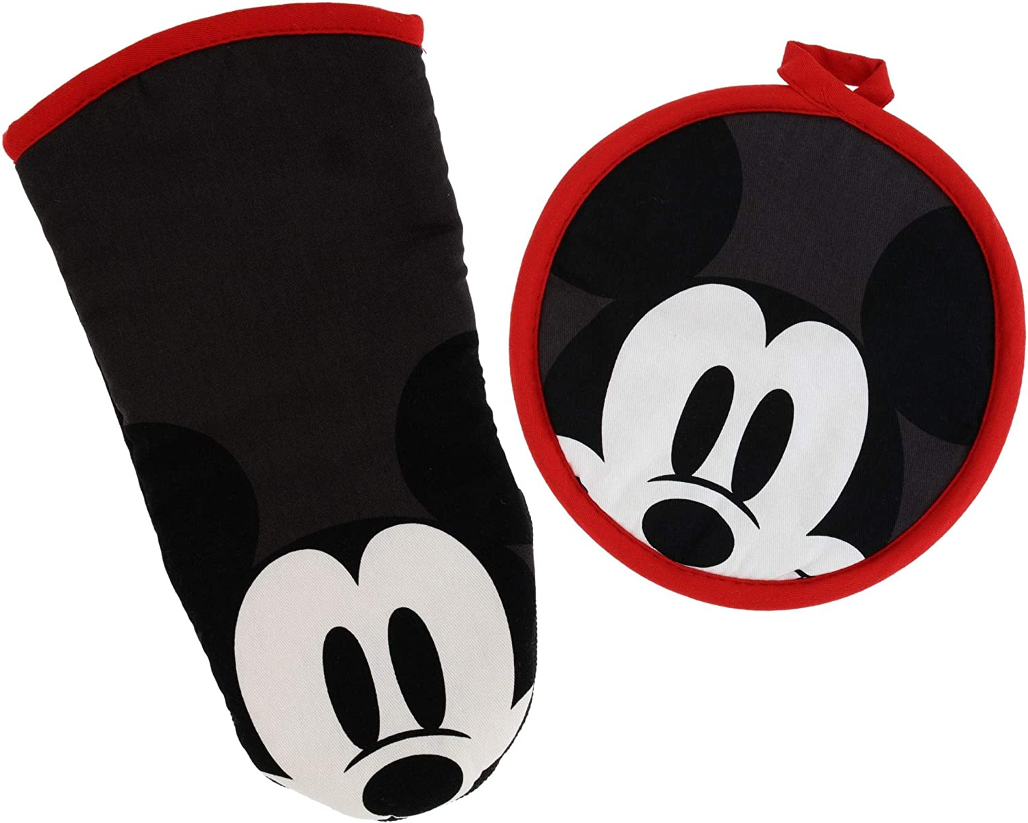 Best Brands Disney Kitchen Puppet Oven Mitt/Glove and Circle Potholder Set w/Neoprene for Easy Non-Slip Gripping- Protect Your Hands in The Kitchen - Heat Resistant Kitchen Accessories- Sneaky Mickey