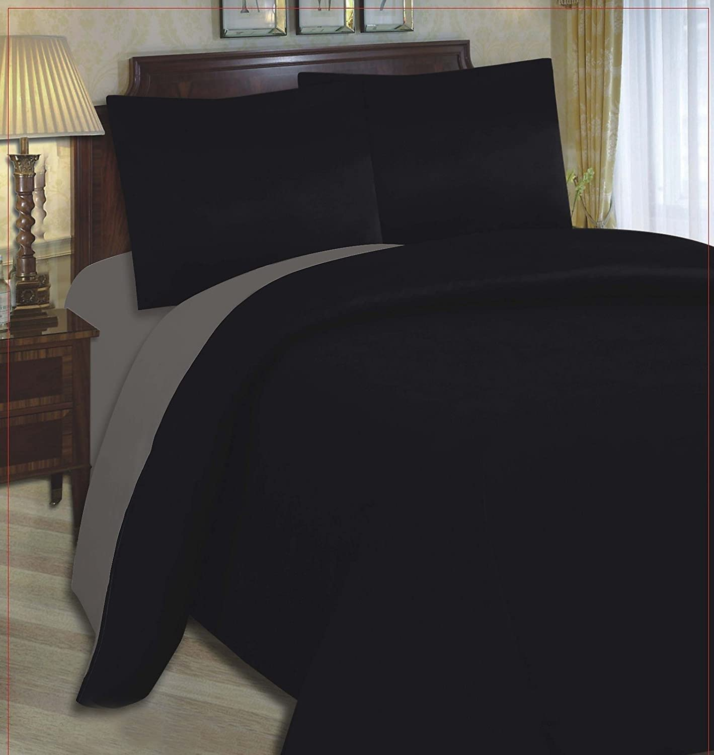 CLEARANCE CHEAP BEDDING SETS   3pc Bed Set Duvet Cover + Plain Fitted  Sheets Black U0026 Grey Single Quilt Cover + Sheet: Amazon.co.uk: Kitchen U0026 Home