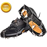 SehrGo Ice and Snow Traction Cleats Universal Slip-on Stretch fit Snow Ice Spikes Grips Crampons One Pair