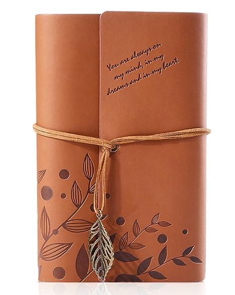 Ai-life Retro Vintage Ubierta de Cuero de la PU Cuaderno Agenda Bloc Libro cuaderno en blanco Revista de Notas Hojas Revista Diario Notebook Libreta ...