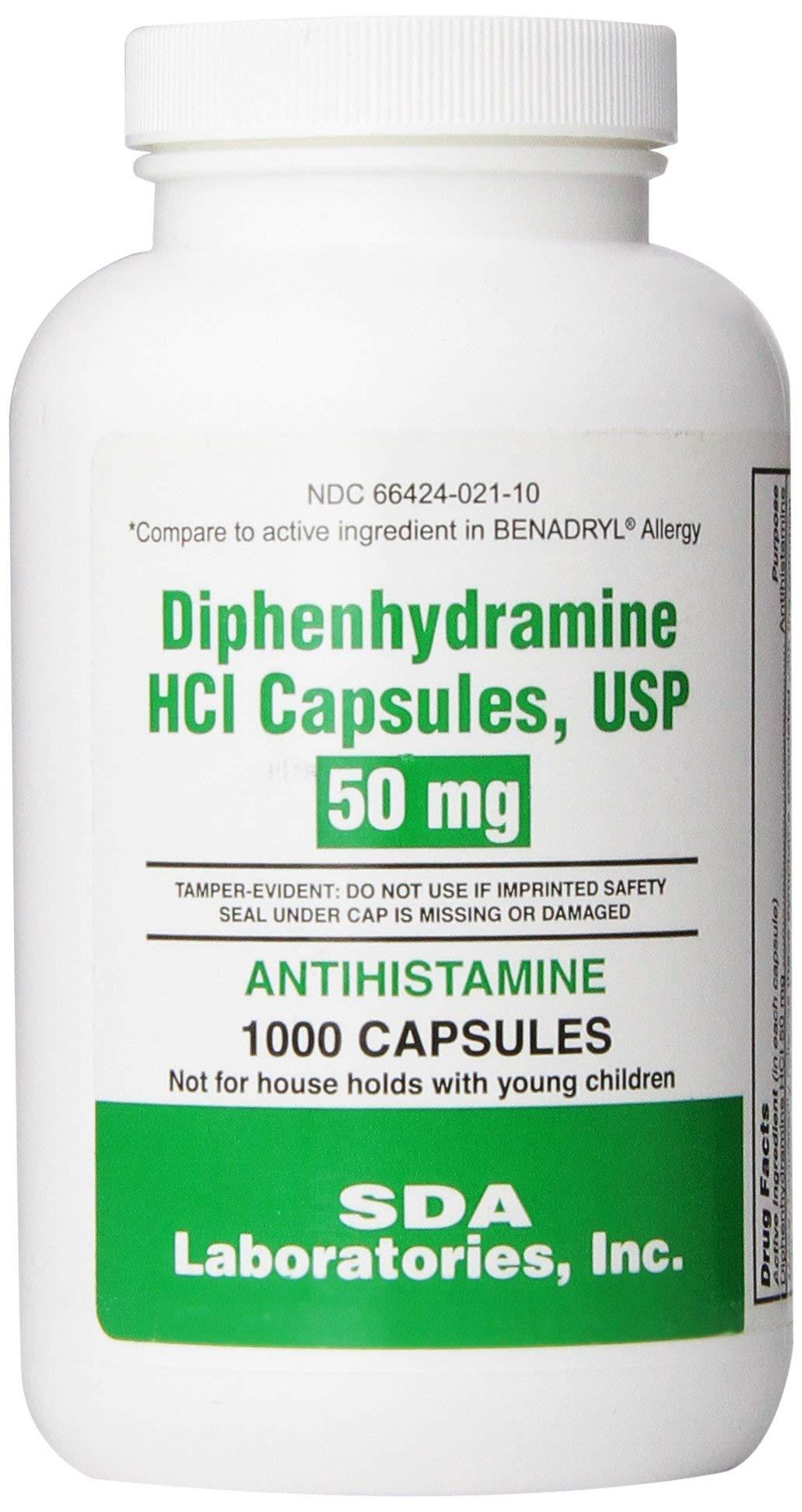 SDA Laboratories, INC Generic Benadryl Allergy - Diphenhydramine (50mg) - 1000 Capsules by SDA LABORATORIES