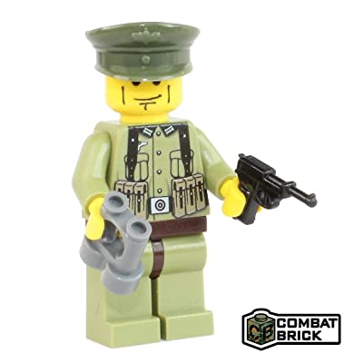 CombatBrick WW2 German Field Green Officer - Custom Army Builder Minifigure: Toys & Games
