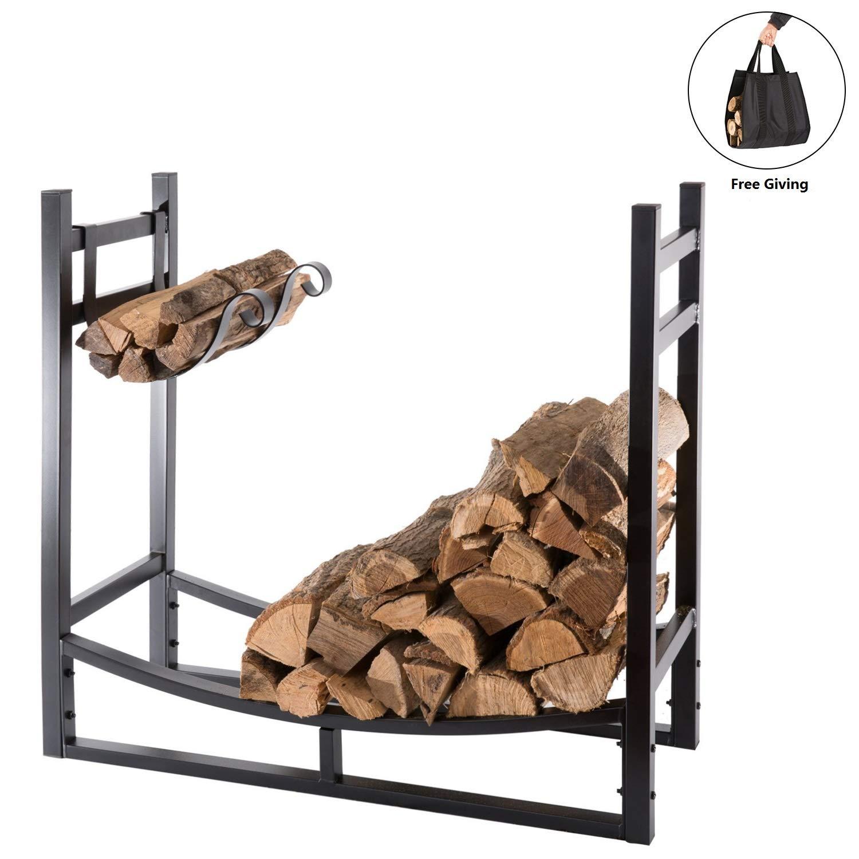 DOEWORKS Heavy Duty Firewood Racks 3 Feet Indoor/Outdoor Log Rack with Kindling Holder, 30 Inch Tall, Black by DOEWORKS