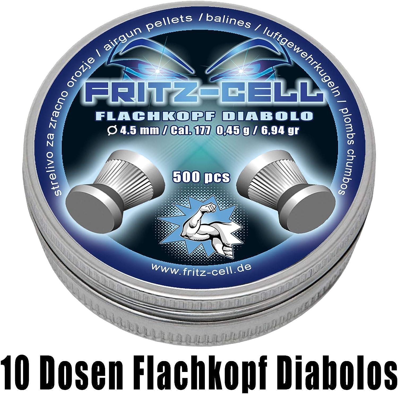 WEILAX 5000 Flachkopf Diabolos 4,5mm Fritz-Cell f/ür Luftgewehr Luftpistole