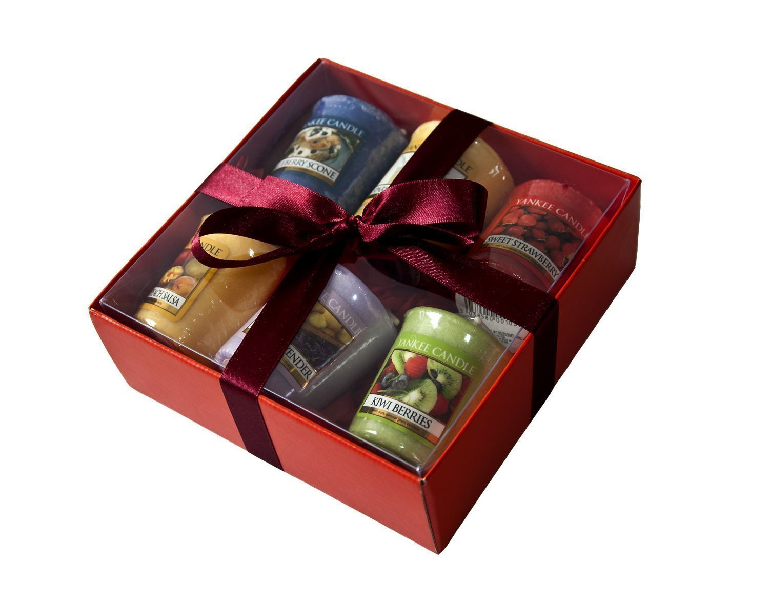 2 x Yankee Candle Fruit Samplers -6 Pack including MANGO PEACH SALSA- Gift Wrapped in Red Box & red tissue.