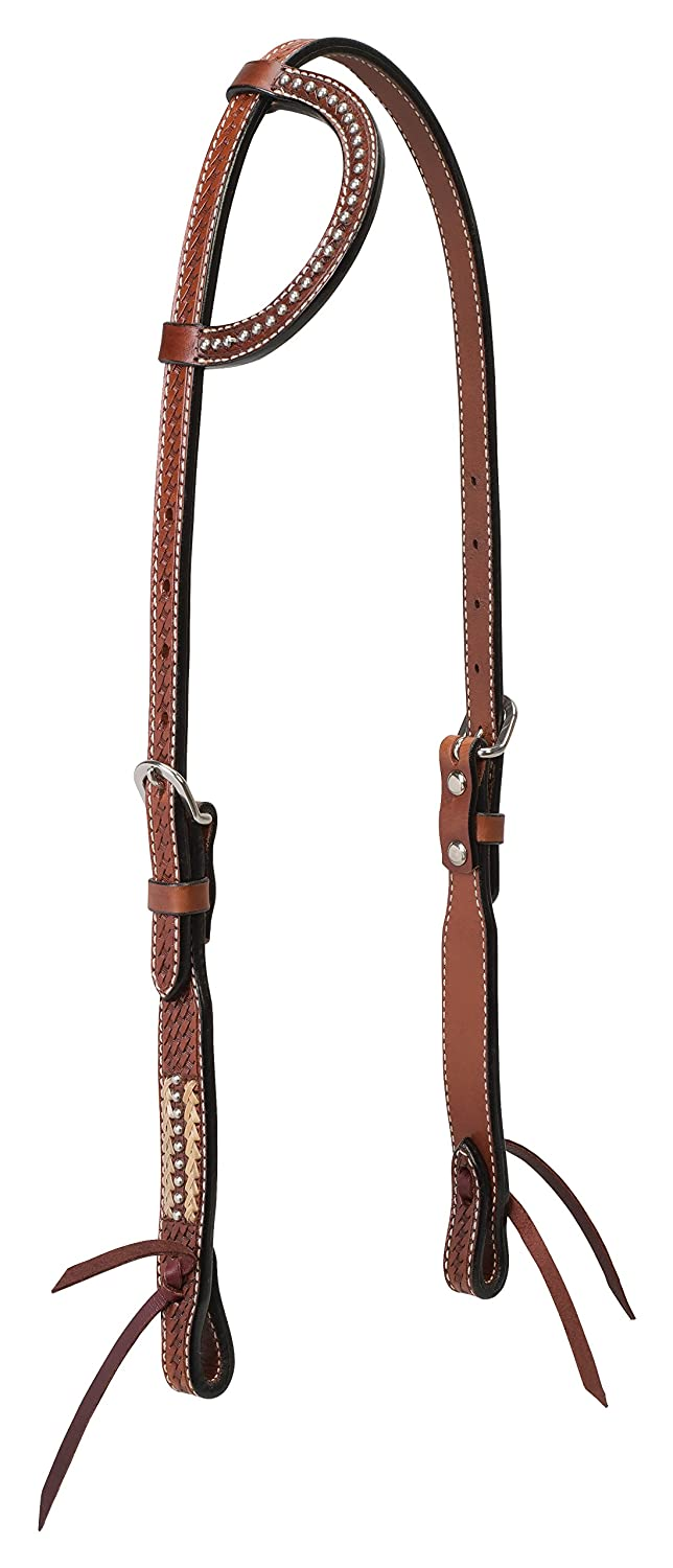 Turquoise Cross Basket Weave with Rawhide Accents 5 8  Sliding Ear Headstall, Chestnut