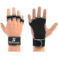 ProFitness - Guantes de entrenamiento con muñequera, piel dividida con acolchado de silicona para un agarre fuerte y protección contra lesiones, para gimnasio, levantamiento de pesas, levantamiento de pesas y WOD