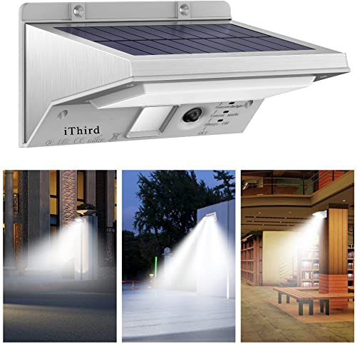 Solar Lights Outdoor Motion Sensor, iThird LED Solar Powered Security Lights Stainless Steel for Yard Patio Garage Waterproof 3 Modes Super Bright Daylight