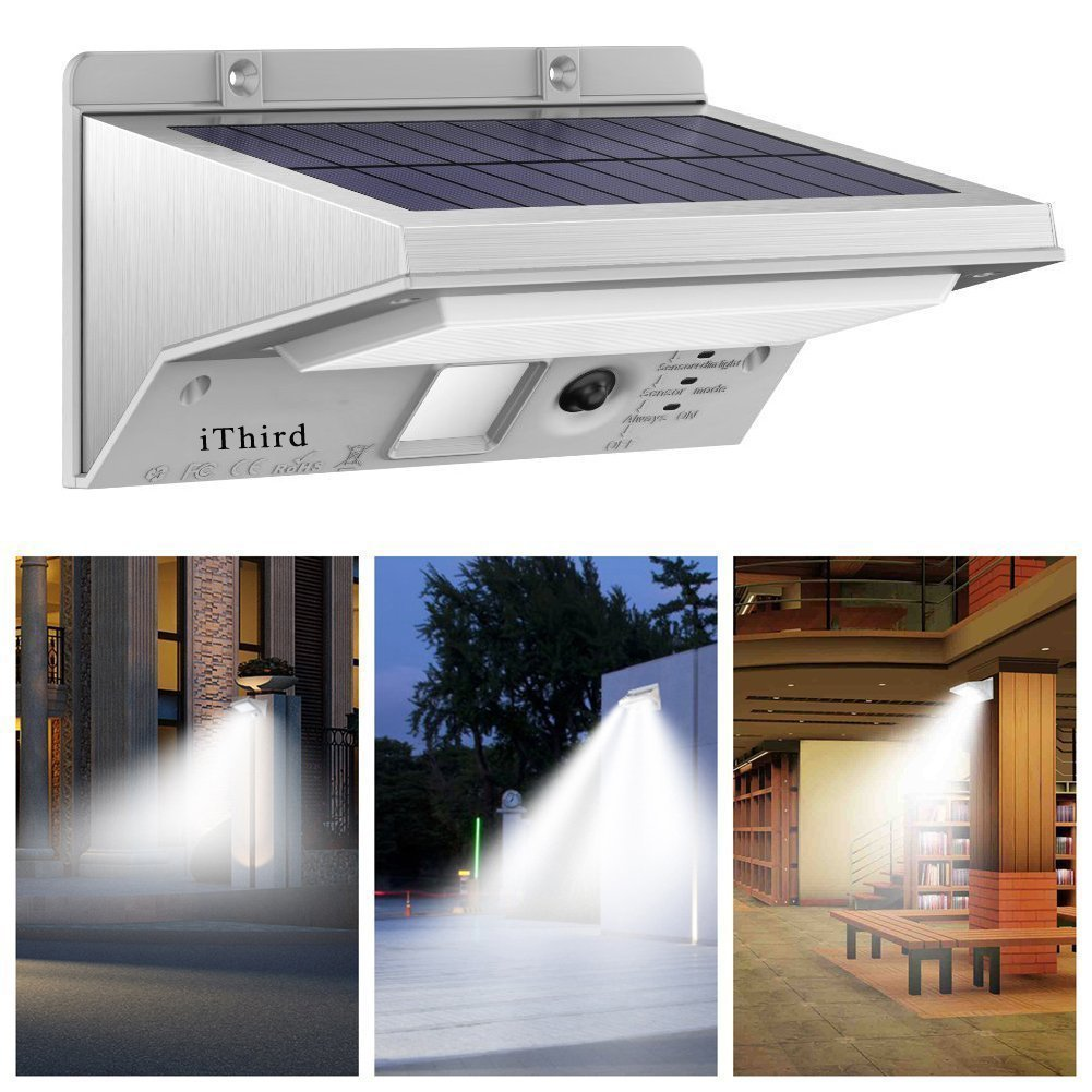 Solar Lights Outdoor Motion Sensor, iThird LED Solar Powered Security Lights Stainless Steel for Yard Patio Garage Waterproof 3 Modes Super Bright(Daylight) by iThird