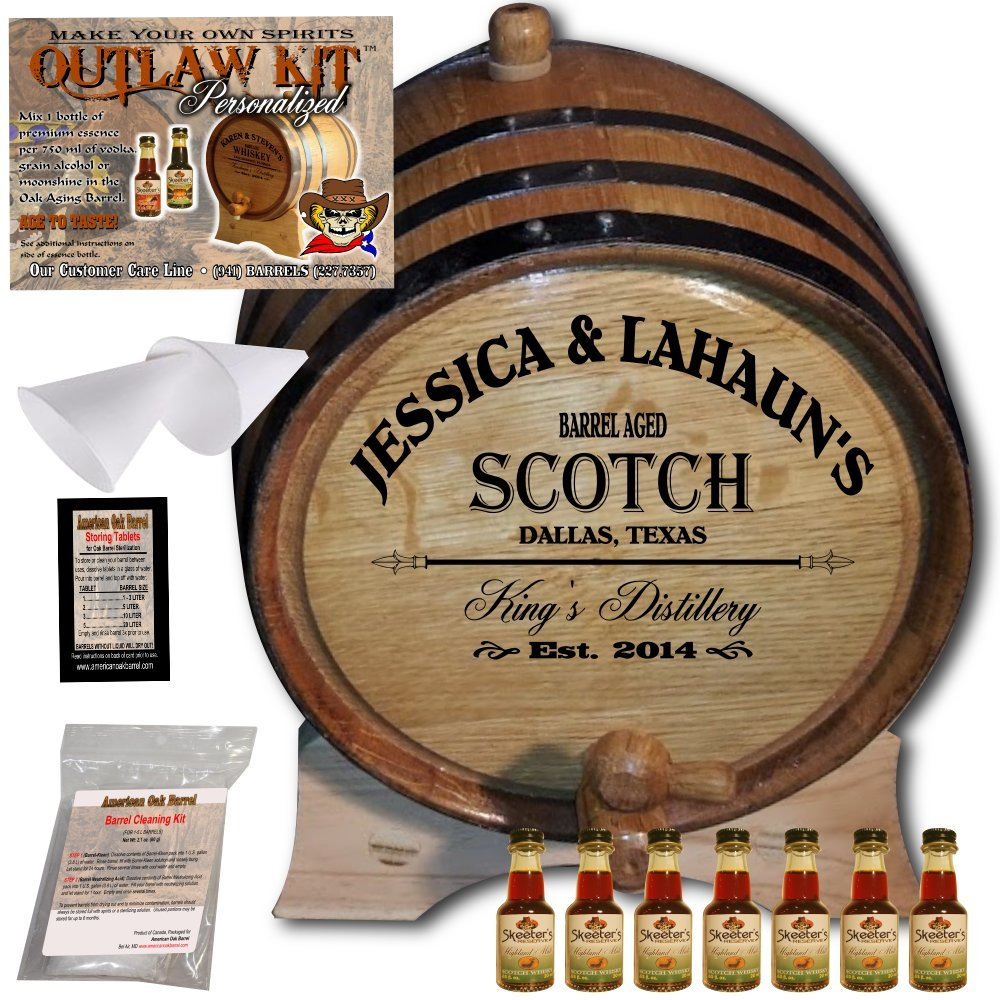 Personalized Whiskey Making Kit (061) - Create Your Own Highland Malt Scotch Whiskey - The Outlaw Kit from Skeeter's Reserve Outlaw Gear - MADE BY American Oak Barrel - (Oak, Black Hoops, 1 Liter) COK061HMS01LBK