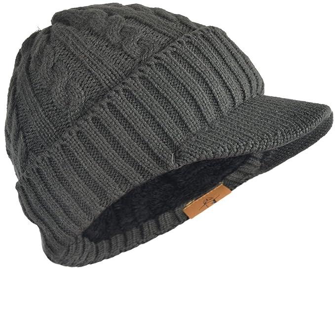 FORBUSITE Bonnet Visiere Homme, Casquette Visière à Doublure Polaire  Chapeau,Tricot,Long,Hiver,B5042(Gris foncé) Amazon.fr Vêtements et  accessoires