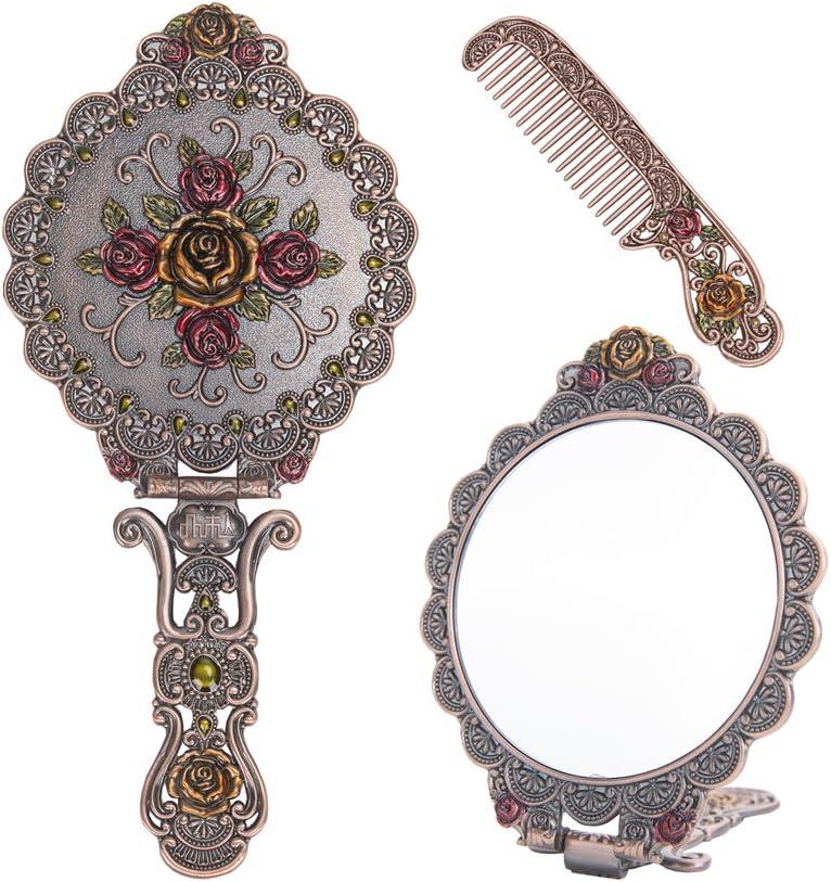 Nerien Vintage Round Rose Metal Mirror Comb Set Antique Hand Held Vanity Mirror Comb Set Copper
