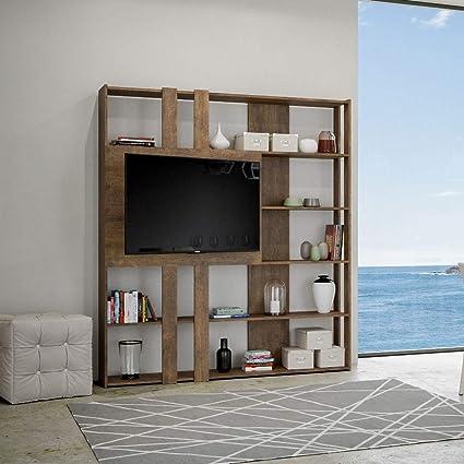 Itamoby - Estantería y porta TV de pared de madera Kato L con 6 estantes, 5 compartimentos, nogal, decoración moderna para oficina, salón, cocina, 178 ...