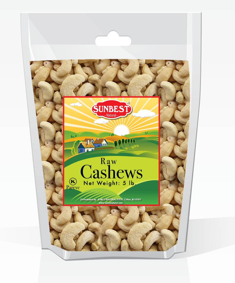 SUNBEST Natural Shelled Whole Raw Cashews (5 Lb)