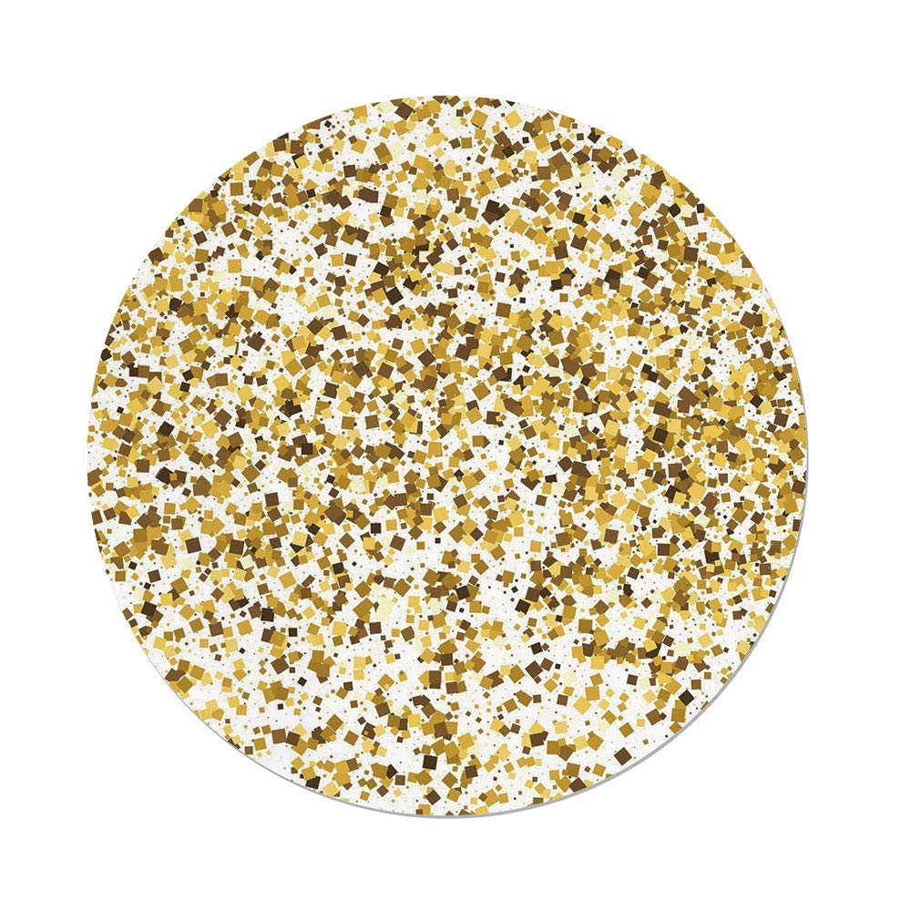 Polyester Round Tablecloth,Gold and White,Party Celebration Themed Confetti Like Squares Abstract Ombre Image Decorative,Yellow and White,Dining Room Kitchen Picnic Table Cloth Cover,for Outdoor Indo