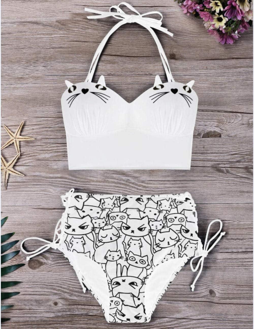 New Women Retro Swimsuit High Waist Swimsuit Bandage Halter Bikini Set Cartoon Cat Print Bathing Suit High Waist Beachwear White