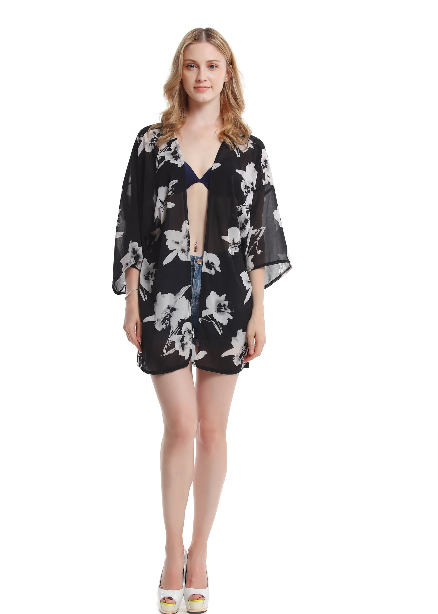 Women's Floral Chiffon Kimono Top - Ladies Sheer Flower 3/4 Sleeves Beach Cover Up for Bikini,Beachwear and Cardigan(Black&White,XL) by soul young (Image #8)